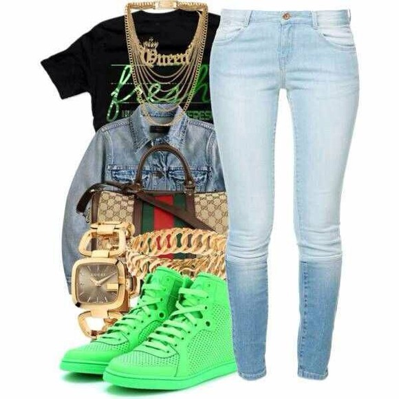 jeans shoes bag jewels shirt