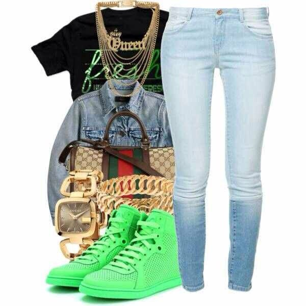 shoes jeans bag jewels shirt