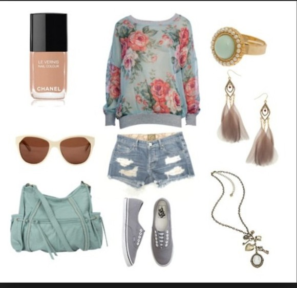 floral jumper sweater shorts blue shoes bag shirt