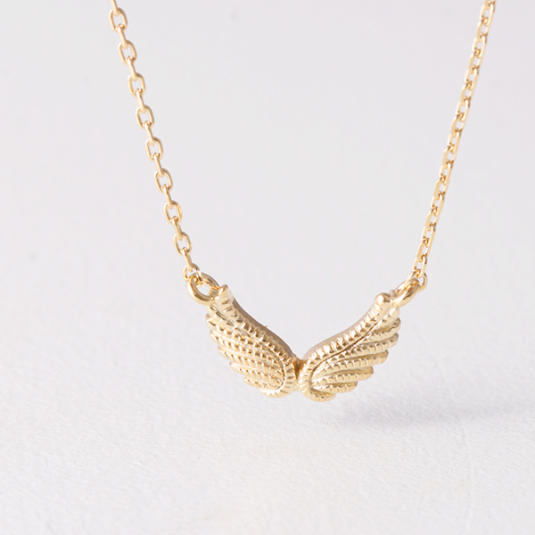 Gold Double Angel Wing Necklace Sterling Silver