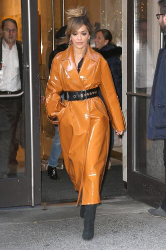 coat rita ora fall outfits belt orange trench coat vinyl