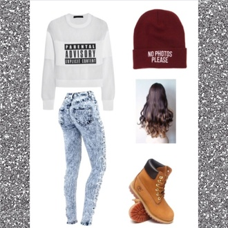 jeans alexander wang timberlands pacsun young and reckless faded jeans long hair hat sweater shoes