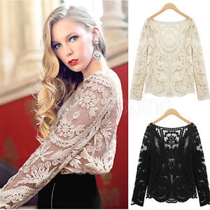 Semi Womens Sheer Sleeve Embroidery Floral Lace Crochet Tee T-Shirt Top Blouse # | eBay