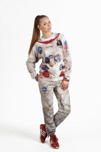 sweater sweatpants sweatshirt joggers pullover space suit astronaut suit apollo sweatsuit apollo sweater apollo 11 printed sweater