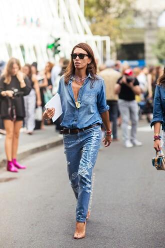 jeans embellished denim embellished blue jeans denim shirt shirt blue shirt sandals high heel sandals nude sandals sunglasses all denim outfit streetstyle