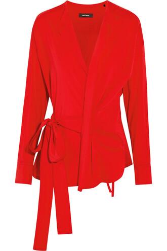 top silk wool red