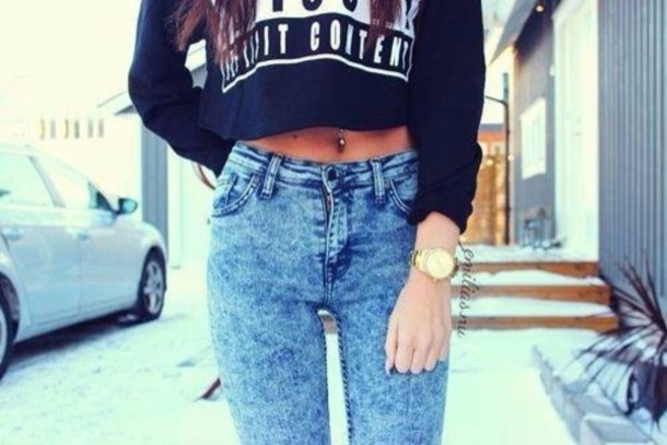 jeans sweater swag denim pants blue black watch shirt on style advisory adult content andthat acid wash cute swag top top explicit content high waisted jeans acid wash jeans acid washed skinny jeans