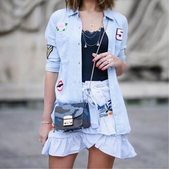 shirt tumblr blue shirt top black top skirt mini skirt blue skirt wrap skirt bag chain bag necklace asymetrical skirt wrap ruffle skirt