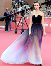 dress,lily collins,elie saab,lilly collins,fashion,black dress,colorful dress,prom dress,celebrity style,white dress,purple dress,awesome dress,cute dress,red carpet dress,black and white dress,lilly collins dress,purple,long,formal,strapless,ombre,red carpet,multicolor,evening dress,party dress,prom gown,bridesmaid,long prom dress,long evening dress