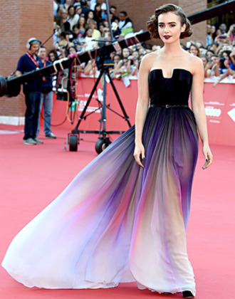dress lily collins elie saab lilly collins fashion black dress colorful dress prom dress celebrity style white dress purple dress awesome dress cute dress red carpet dress black and white dress lilly collins dress purple long formal strapless ombre red carpet multicolor evening dress party dress prom gown bridesmaid long prom dress long evening dress