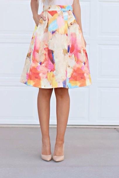 skirt watercolor a line midi midi skirt colorful a