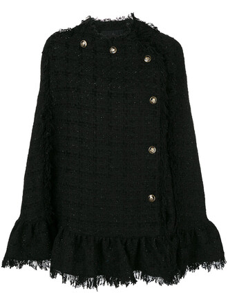 poncho women cotton black wool top