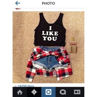 shorts crop tops instagram plaid shirt india love t-shirt