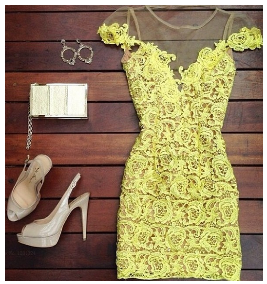 Yellow stitching lace perspective gauze halter dress