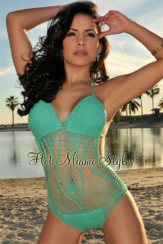 Light Emerald Crochet Monokini
