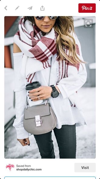 scarf kristin cavallari blanket scarf bugundy & white scarff bag shoulder bag beige silver chain bag jewels black boyfriend watch flannel scarf white t-shirt boyfriend watch red plaid scarf chloe chloe drew bag crossbody bag grey jeans red and white winter scarf