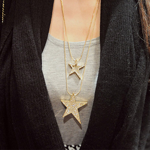 [grxjy5100316]Fashion Rhinestone Lucky Stars Pendant Dual Layer Necklace