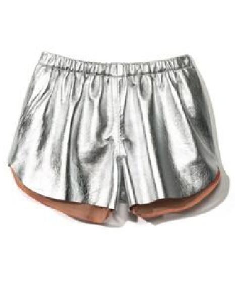 elastic shorts silver metallic waistband