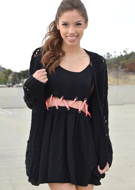 dress little black dress cut-out cut-out dress criss cross sweater cardigan knitted cardigan oversized cardigan black cardigan
