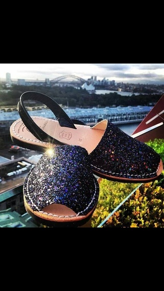 shoes black sequins sandals flats espadrilles leather summer shoes spring style fashion