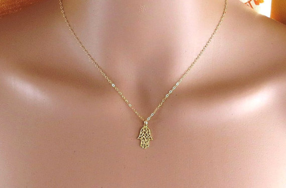 hamsa necklace  Gold hamsa necklace gold hand by Salshelima