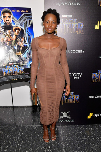dress sandals midi dress bodycon dress lupita nyong'o celebrity bustier dress