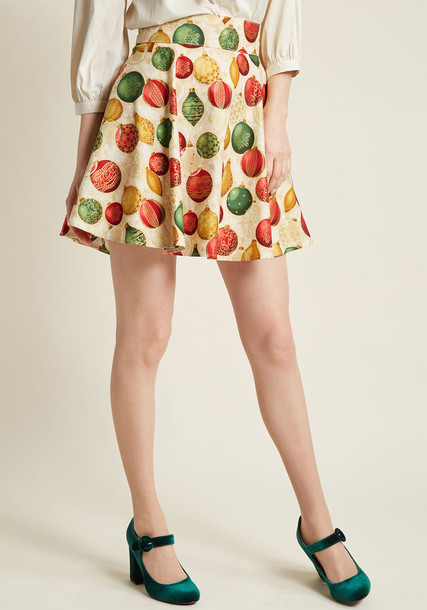 3580 skirt circle skirt style gold cotton print green red