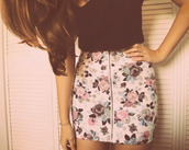 skirt,clothes,flowers skirt,floral,floral skirt,summer,roses,white floral skirt,zipped skirt,zip,black tank top,t-shirt,tank top,shirt,foral,black crop top,cute,ootd,top,pencil skirt,mini skirt,whit,style,fashion,flowers