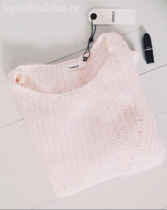 rose bonbon pullover only hiver tricot sweater