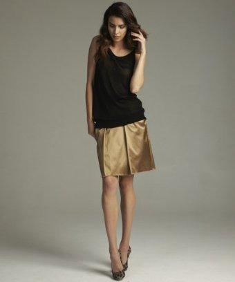 Dolce & Gabbana gold sateen pleated skirt   BLUEFLY up to 70% off designer brands