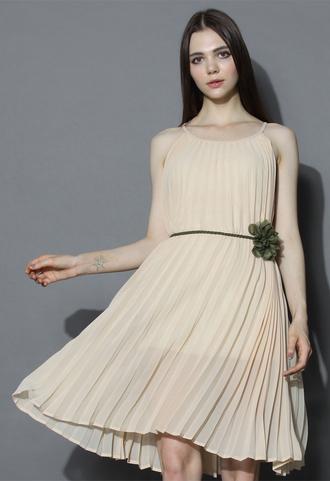 dress amore pleated swing dress in nude chicwish pleated nude dress swing dress chicwish.com