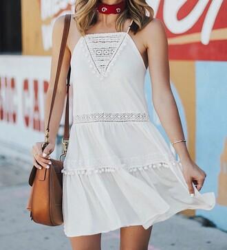dress tumblr halter neck halter dress mini dress white dress bag brown bag