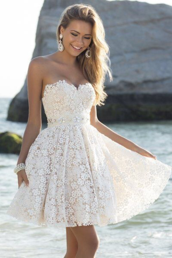white dress white lace white lace dress bustier dress bustier mini dress wedding dress short wedding dress bustier wedding dress jewels wedding clothes wedding accessories beach wedding dress