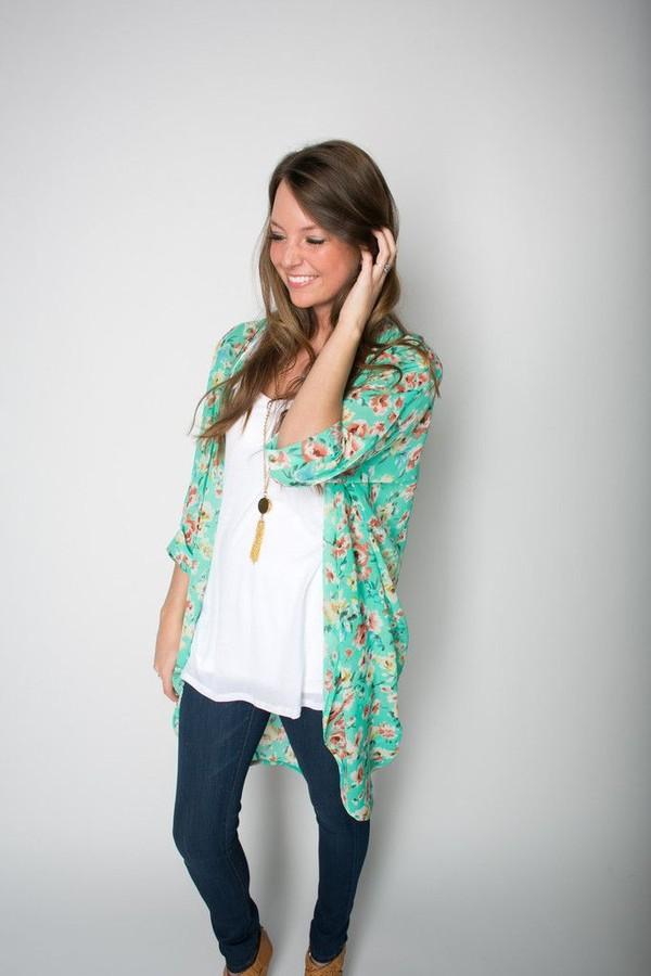 Coachella Floral Print Kimono Pom Pom Cape (2 Colors Available)