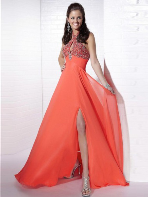 orange prom dresses