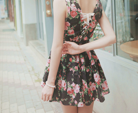 lace up clothes dress short dress floral dress lace up back lace up dress black floral dress