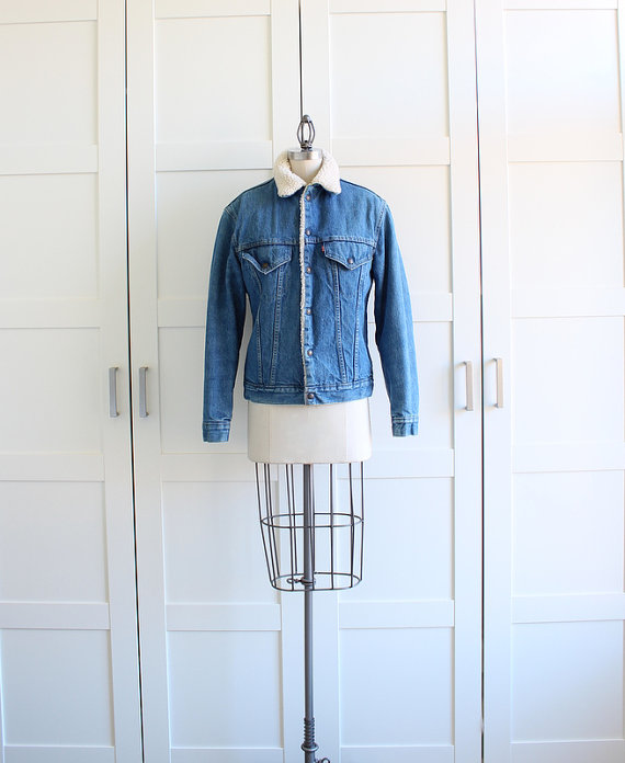 Levis Sherpa Jacket / Denim Coat Blue Jean by myvintagecrush