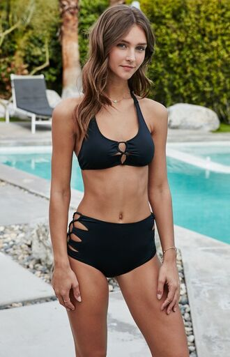 swimwear zaful black strappy lace up bikini hipster high waisted shorts trendy chic summer outfits tumblr