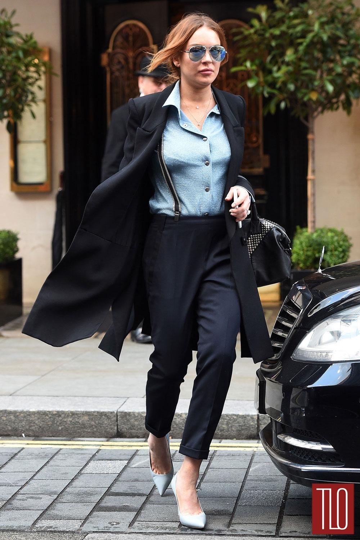 Lindsay lohan in saint laurent in london