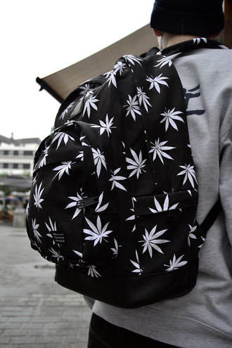 bag black white leaf printed backpack marijuana drugs mens accessories