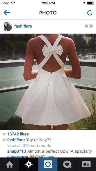 dress white dress bow back dress flowy dress