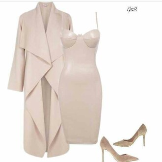 dress nude classy bodycon dress long coat