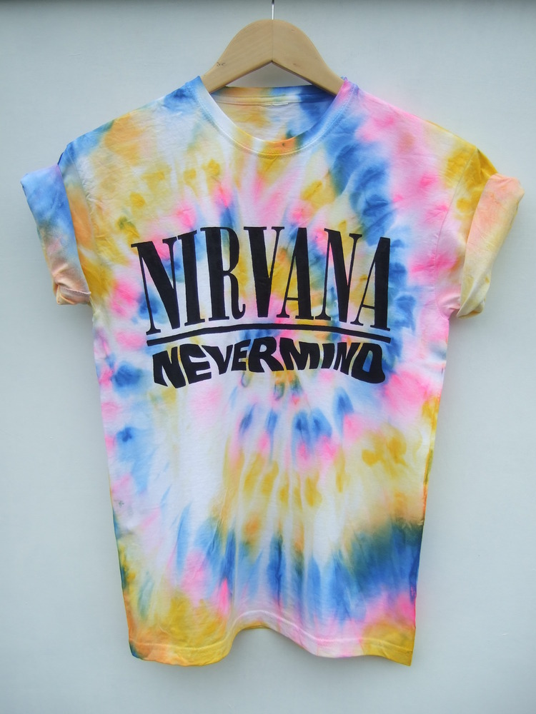 Tappington and wish — neon tie dye nirvana nevermind t shirt