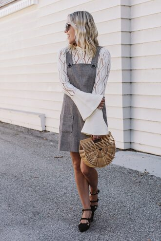 dress tumblr grey dress tunic tunic dress pocket dress mini dress top white top lace top white lace top bell sleeves bag basket bag pointed flats black flats flats shoes black shoes