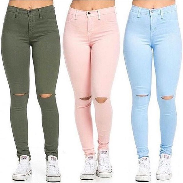 High Waisted Knee Slit Skinny Jeans in Light Pink