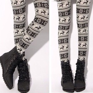 aztec pants girly clothes cute tribal pattern outfit style fashion doublelw tights fall outfits deer