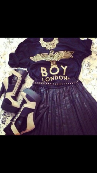 shoes blouse black skater skirt boy london neklace high heels