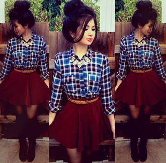 skirt flannel shirt blue plaid burgundy skirt short skirt
