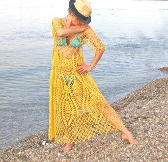 dress crochet crochet dress crochet tunic summer dress summer outfits crochet maxi dress lace dress lace up sea sun yellow yellow dress sundress beach dress
