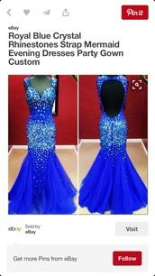 dress,royal blue dress,prom dress,mermaid prom dress